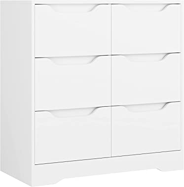 Modern 6 Drawer Dresser, Double Chest of Drawers with Storage, 3+3 Clothing Organizer with Cut-Out Handle, Dresser Chest,Woo