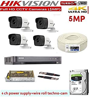 HIKVISION Ultra HD 5MP Cameras Combo KIT 4CH HD DVR+ 4 Bullet Cameras +1TB Hard DISC+ Wire ROLL +Supply & All Required Connectors