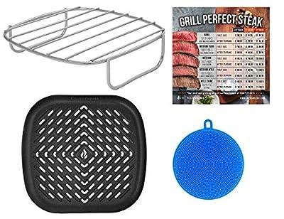 Air Fryer Rack and Grill Pan Accessories Compatible with NuWave, Philips, Chefman, Dash, Cosori, Costzon, Secura, Gourmia, Maxi-Matic Elite Platinum, Enklov +more – Basket Accessory + Scrubber