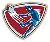 Rugby Player Kicking Ball Decor Autocollant De Voiture Vinyle 12 X 10 cm
