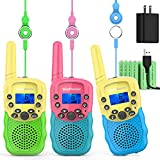 Wishouse Kids Walkie Talkies Rechargeable 3 Pack,Indoor Games Toys with Flashlight for Girls Boys Age 3-12, Birthday Party Gift for Children Family