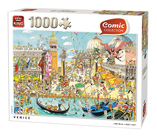 KING 55842 Comic Cartoon Venice Puzzle 1000 Pezzi, a colori, 68 x 49 cm