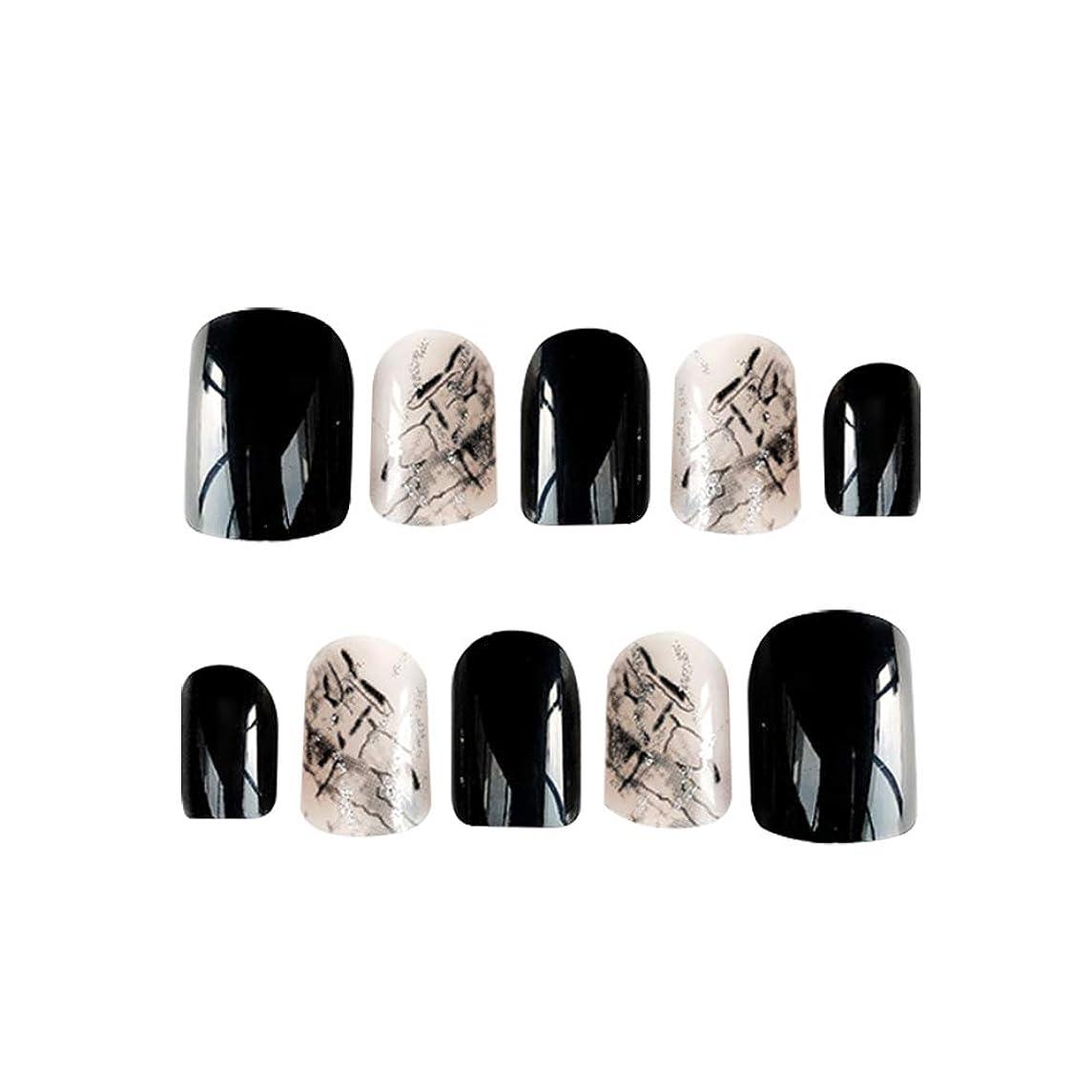 対人米国説得Poonikuu手作りネイルチップ ネイルアート レンダリング偽のネイル 手爪 両面接着テープ付き 女性レディースネイル好きの女性 高級感優雅綺麗おしゃれ 1セット24枚 接着剤付き ブラック