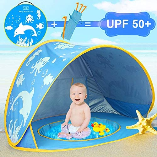 iGeeKid Baby Beach Tent Dolphin Pop Up Portable Sun Shelter Tent with Pool Children s Beach product image
