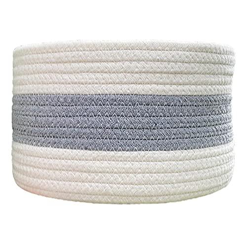Lavandería tejida redonda del color del contraste de la cesta del almacenamiento de la cuerda del algodón juega el compartimiento del organizador