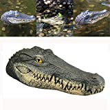Weite Floating Crocodile Head Water Decoy, Realistic Simulation Alligator Head Gator Defender Pool Float Hunting Decoys Home Decorations for Goose, Predator, Heron, Duck Control (Multicolor)