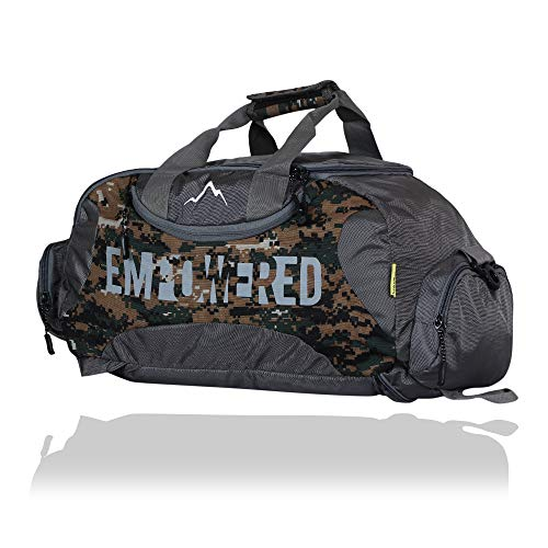 YOI Men's Empowered Polyester Backpack Cum Gym Bag for Travel, Sports Duffel Bags with Separate Shoes Compartment - Army
