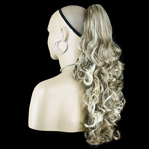 Elegant Hair - 56 cm / 22 pouces queue de cheval frisé – Brun cendré/mélange blond #10/613 -Clip-in pièce de extensions de cheveux réversible - Avec griffe-clip - 30 Couleurs - 250g