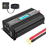 Pure Sine Wave 2000Watt Car Power Inverter Converter DC 12V to 120V AC with 2 AC Outlets 2x2.4A USB Ports 1 AC Terminal Block Remote Control and LCD Display[3 Years Warranty] by VOLTWORKS