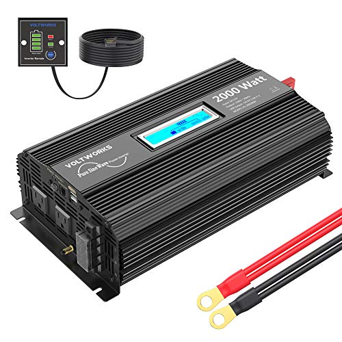 Pure Sine Wave 2000Watt Car Power Inverter Converter DC 12V to 120V AC with 2 AC Outlets 2x2.4A USB Ports 1 AC Terminal Block Remote Control and LCD...