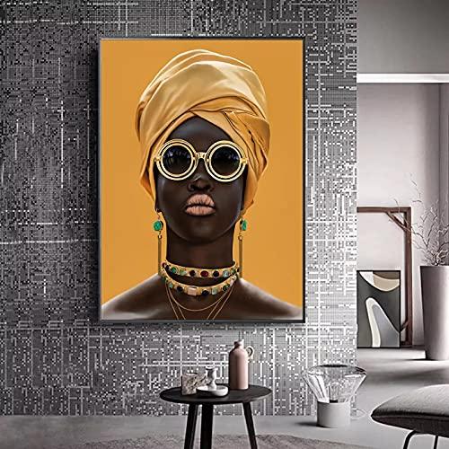 Pintura decorativa en lienzo Pintura de lienzo de arte moderno mujer negra africana carteles e impresiones de turbante amarillo imágenes escandinavas decoración del hogar de la sala de estar-60x80cm