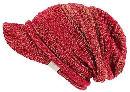 dy mode Damen Strickmütze mit Schirm Schirmmütze Herren Unisex - A300 (A300-Rot)