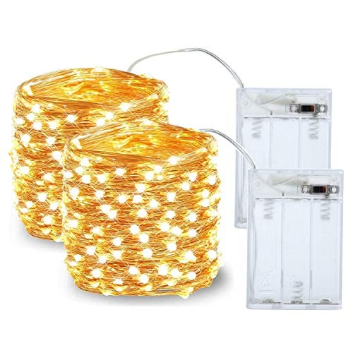 2 Pack LED String Light, Mini Battery Operated/Powered String Light with Copper Wire Decoration for Bedroom Christmas Wedding Party ,3AA Battery Opearted (Warm White)