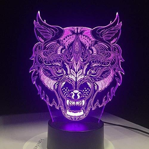 DNSJB 3D-Cara del Lobo-Ilusión de la lámpara-luz de la Noche-lámpara de Mesa-Touch-Control...