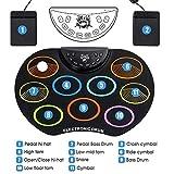 Qinmo Percusión, 9 pads batería electrónica, Pad de práctica del tambor eléctrico con auriculares Jack Kit de Rodillos Hasta tambor con 2 pedales 2 Baquetas, colorido, color: colorido