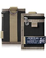 JEMINAL Trifold Canvas Outdoor Sports Wallet for Boys - Keychain Wallet for Women and Mens - Black
