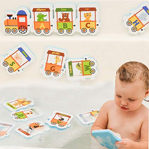 Foam Animal Bath Toys for Boys and Girls - Non Toxic Bathtub Foam Alphabet Letters Animals for Kids - Educational Foam Bath Letter Train for Toddlers 3 Years Old & Up