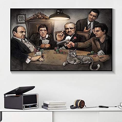 tzxdbh Gangers Art Print van Big Chris Art Gangsters spelen poker poster op muurkunst afbeelding voor de woonkamer decoratief schilderij 30X40cm ongeframed.