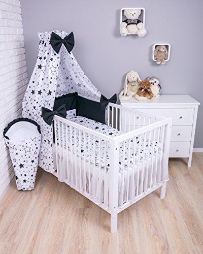 Amilian® Baby Bettwäsche 7tlg Bettset mit Nestchen Kinderbettwäsche Himmel 100x135cm Gute Nacht Schwarz (Vollstoffhimmel)