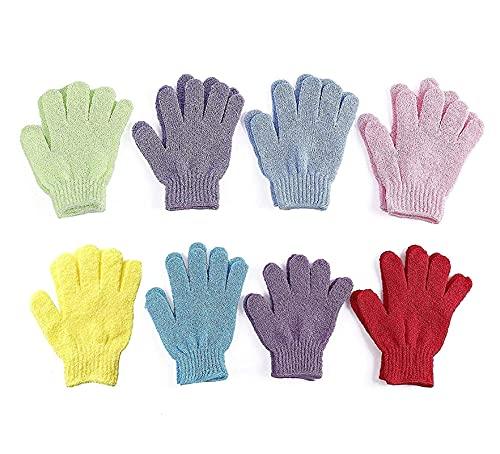 8 pares Guantes exfoliantes de doble cara Cuerpo Scrubber Fregador de guantes Baño de guantes Matchs Scrubs para ducha Cuerpo Spa Masaje Masaje Muerto Celular Cell Removedor de células células muertas