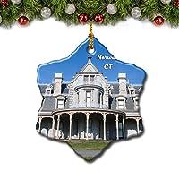 ノーウォーク博物館コネチカット米国クリスマスツリーの飾りクリスマスオーナメントトラベルギフトのお土産3インチ磁器両面