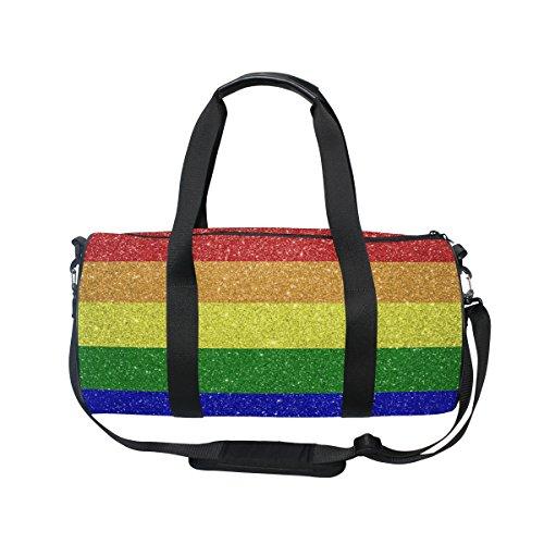 ALAZA Retro Rainbow Glitter Chevron Sports Gym Duffel Bag Travel Luggage Handbag for Men Women