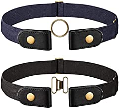 2 Pieces Elastic Belt (No-buckle) with Brass Snap Fastener and A Pair of Brown Brass Buckle (Black and Brown, 46 CM) (Black and Navy Blue, man 64CM)