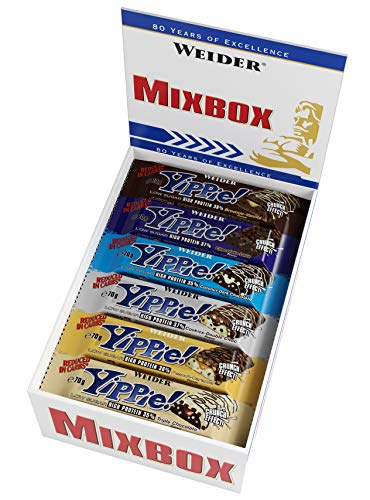 WEIDER Yippie! Proteinriegel 70 g Mix Box 12 leckere Eiweißriegel, low-carb