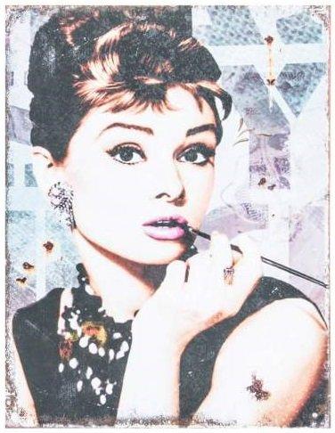 AVENUELAFAYETTE Cadre Tableau Plaque Murale métal Star Hollywood Audrey Hepburn (Cigarette)