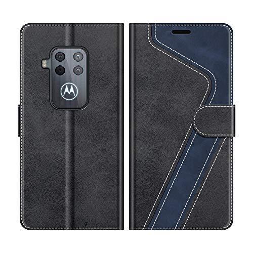 MOBESV Handyhülle für Motorola One Zoom Hülle Leder, Motorola One Zoom Klapphülle Handytasche Case für Motorola One Zoom Handy Hüllen, Modisch Schwarz