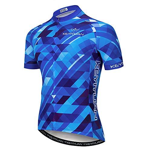 JPOJPO - Maglia da ciclismo da uomo, a maniche corte, con 3 tasche posteriori, con cerniera completa, teschio, Ragazzi, Blu, L
