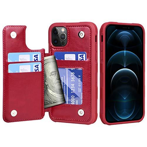 Migeec Funda para iPhone 12 Pro MAX - Funda Tipo Cartera con Bolsillos para Tarjetero [a Prueba de Golpes] Funda con Tapa Trasera para iPhone 12 Pro MAX de 6,7 Pulgadas - Rojo