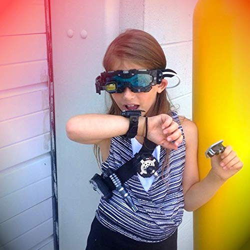 SpyX / Night Mission Goggles - Spy Kids Goggles Toy + LED Light Beams + Flip Out Scope. Adjustable Spy Lens / Glasses / Eyewear Toy Gadget for Junior Secret Agent Role Play in The Dark