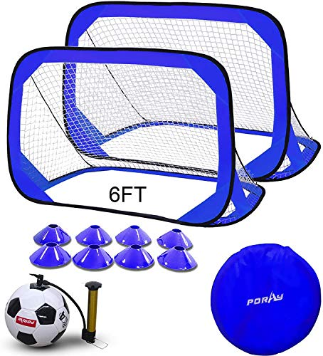 Large Size 6FT Pop Up Soccer Goal Sets,Training Soccer Goal with Portable Carrying Case,Marker Cones and 4 Size Traditional Soccer Ball with Pump, Needles (Classic Blue)