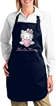 TDFJKxcv Pink Hello Kitty Cooking Apron with 2 Tool Pockets Adjustable Kitchen Chef Bib for Men & Women