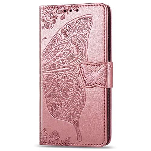 Nadoli Wallet Coque pour iPhone 13 Pro Max,Rétro Papillon Fleur PU Cuir Magnétique Portefeuille Housse Étui à Clapet avec Stand Support,Rose Or