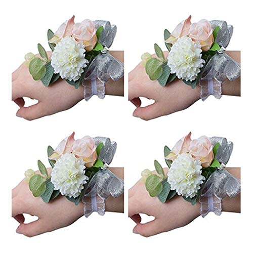 Flonding Girl Bridesmaid Wedding Wrist Corsage Bride Wrist Flower Corsages Stretch Bracelet Wristband for Wedding Prom Party Homecoming Hand Flowers Decor Pack of 4