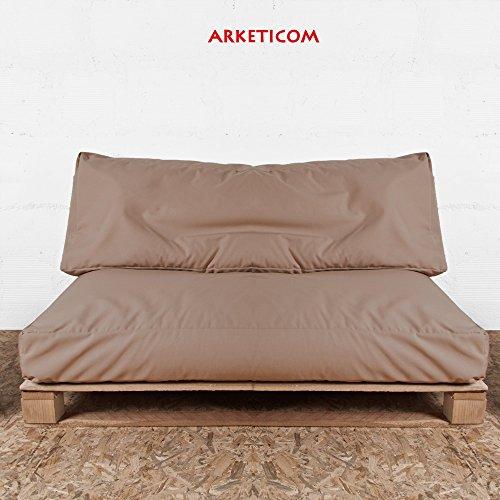 Arketicom Soft Pallet Palettenkissen für garten, Set (Sitz 120x80x15 cm und Rückenlehne 120x40x15 cm) von weiche Kissen für außen, innen handgefertigt sortiert