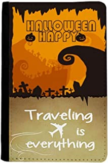 Tree Happy Ghost Fear Halloween Traveling quato Passport Holder Travel Wallet Cover Case Card Purse