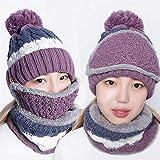 LPOQW Gorro de invierno 3 en 1 de lana de felpa gruesa y linda piel de bola de sombrero y bufanda Set de felpa suave calentador de cuello, sombrero con ala para actividades al aire libre, morado