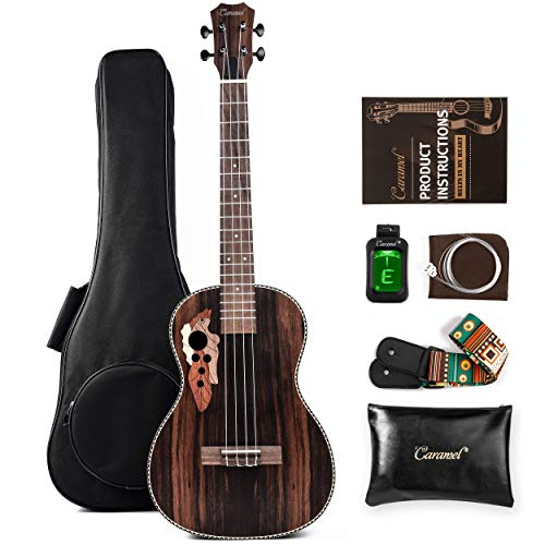 Caramel CT904A Ebony Tenor Acoustic Ukulele with Strings, Padded Gig Bag, Strap and Tuner