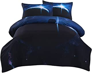 Sleepwish Galaxy Quilt Cover Duvet Cover Double Size Kids Outer Space Bedding Set 3 Pieces Black and Dark Blue Doona Cover