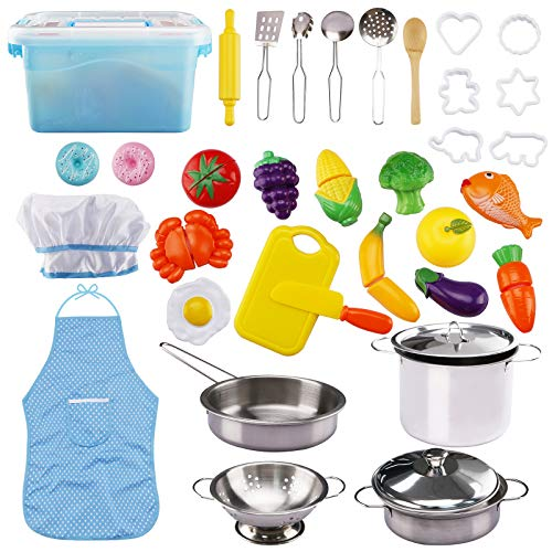 37 PCS Set Kitchen Pretend Play Toys, Cooking & Baking with Stainless Steel Cookware Pots & Pans Set, Cooking Utensils Cookie Cutters Cutting Vegetables Apron & Chef Hat for Kids Toddlers Boys Girls