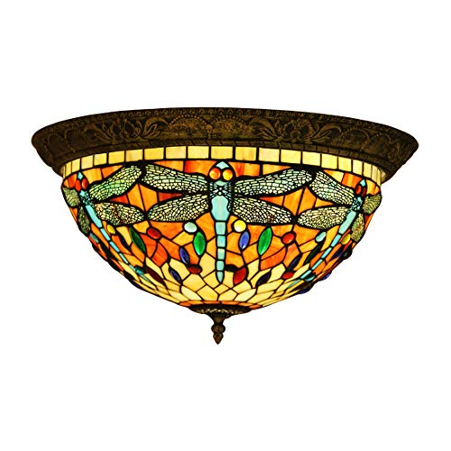 Makenier Vintage Baroque Tiffany Style Red Stained Glass Blue Dragonfly Flush Mount Ceiling Lamp Fixture, 16 Inches Lampshade