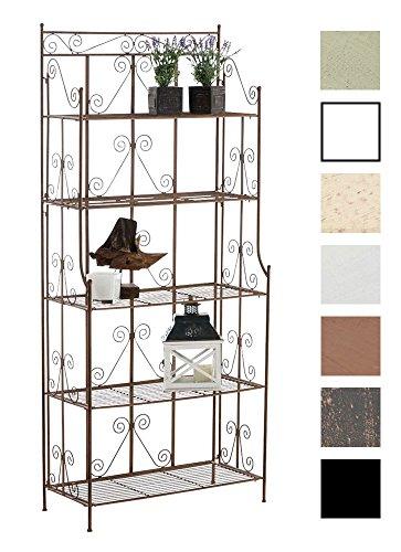 Ciara stabiles Standregal im Landhausstil I Klappbares Eisenregal mit 5 Regalböden I erhältlich, Farbe:antik braun
