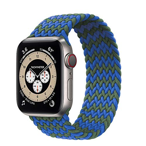 Lazo solo trenzado para Apple Watch Band 44 mm 40 mm 38 mm 42 mm Pulsera de cinturón elástico de nailon para IWatch Series 3 4 5 Se 6 Correa azul verde, 42 mm o 44 mm