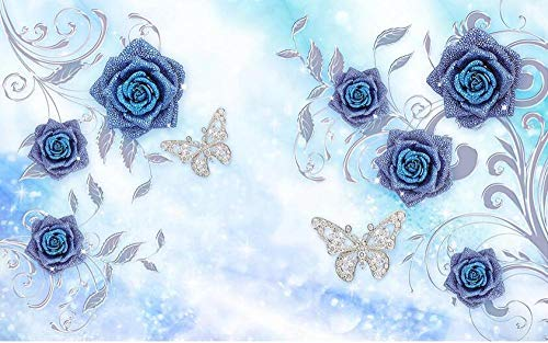Papel de pared con diseño de mariposa, diseño de flores, color azul, 400 x 280 cm.