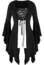LOKODO Women Halloween Gothic Costume Plus Size Long Sleeve Tops Sequined Blouse Lace Up Tunic Tee Ball Gowns Dress