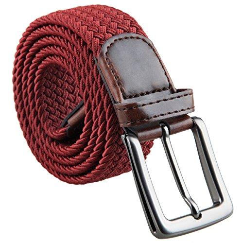 KYEYGWO - Cinturones elásticos trenzados para hombre, con hebilla Rojo 04-rojo vino Talla única