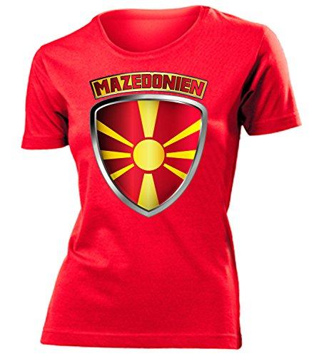 Mazedonien Macedonia Fanshirt Fussball Fußball Trikot Look Jersey Damen Frauen t Shirt Tshirt t-Shirt Fan Fanartikel Outfit Bekleidung Oberteil Hemd Artikel